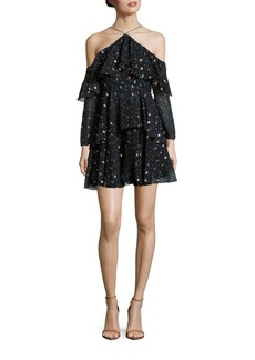 Cynthia Rowley Frilled Leopard Print Shift Dress