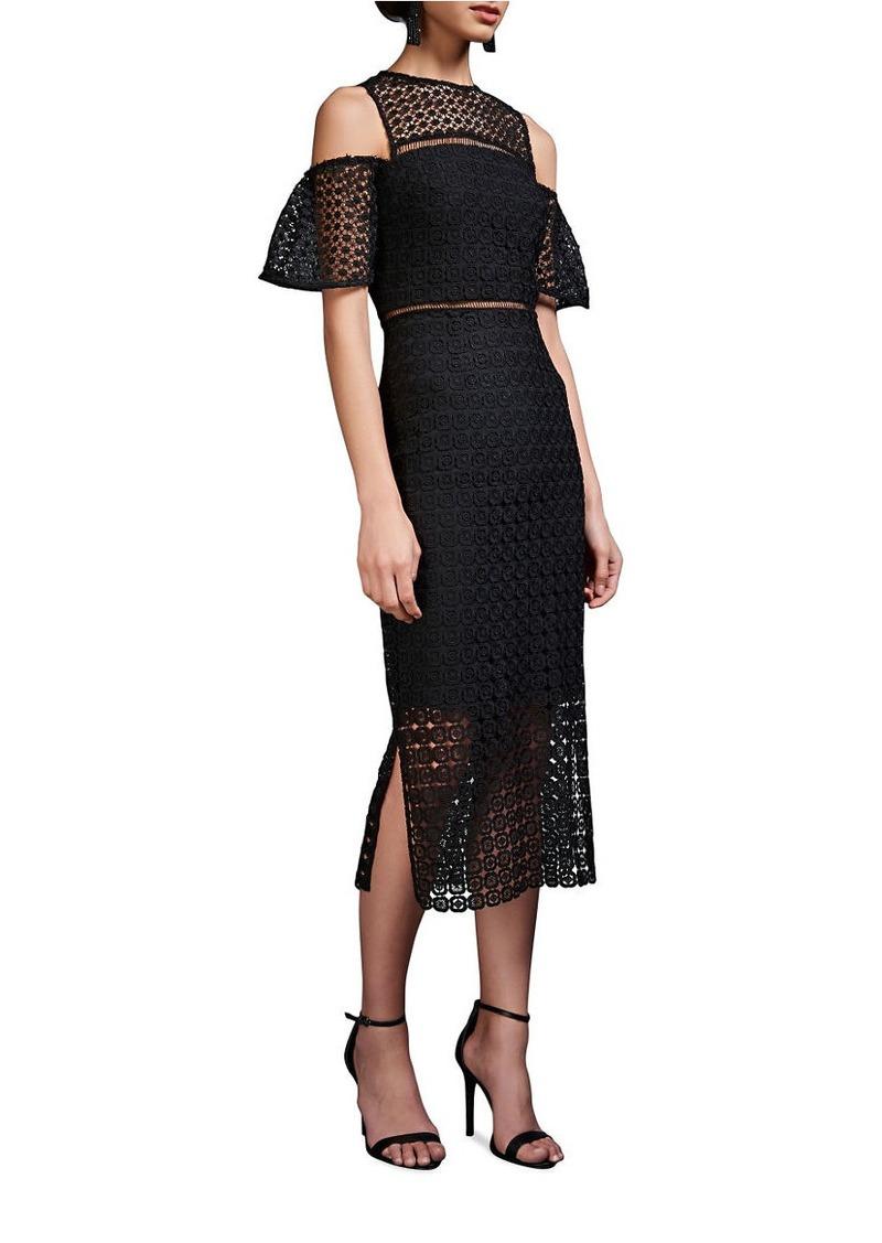 CYNTHIA ROWLEY Geo Cold Shoulder Lace Dress