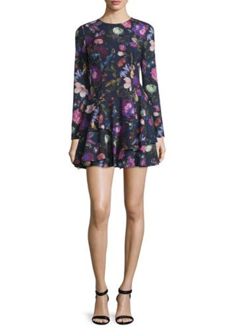 Cynthia Rowley Long-Sleeve Floral-Print Mini Dress