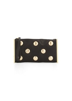 Cynthia Rowley Luna Studded Leather Evening Clutch Bag