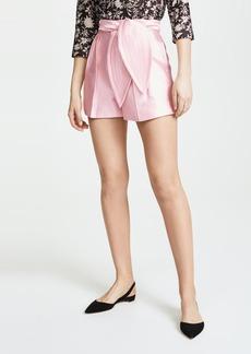 Cynthia Rowley Phoebe Pleated Silk Wool Shorts