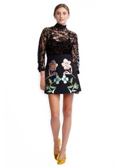 Cynthia Rowley Rainbow Leather Applique Mini Skirt