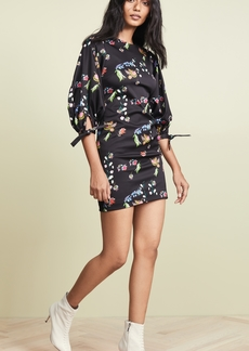 Cynthia Rowley Ruched Tie Sleeve Mini Dress