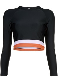 Cynthia Rowley Shock Wave Electric stripe hem Surf/Active Top - Black