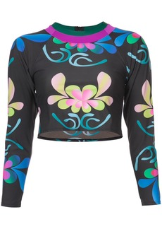 Cynthia Rowley Shock Wave floral surf top - Black