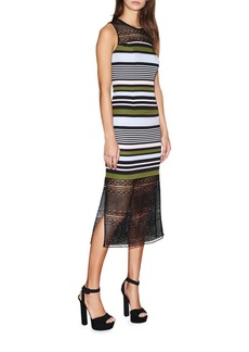 Cynthia Rowley Stripe and Lace Midi Dress