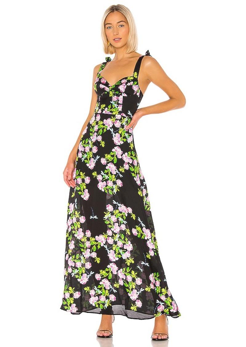 Cynthia Rowley Ten Rose Silk Maxi Dress
