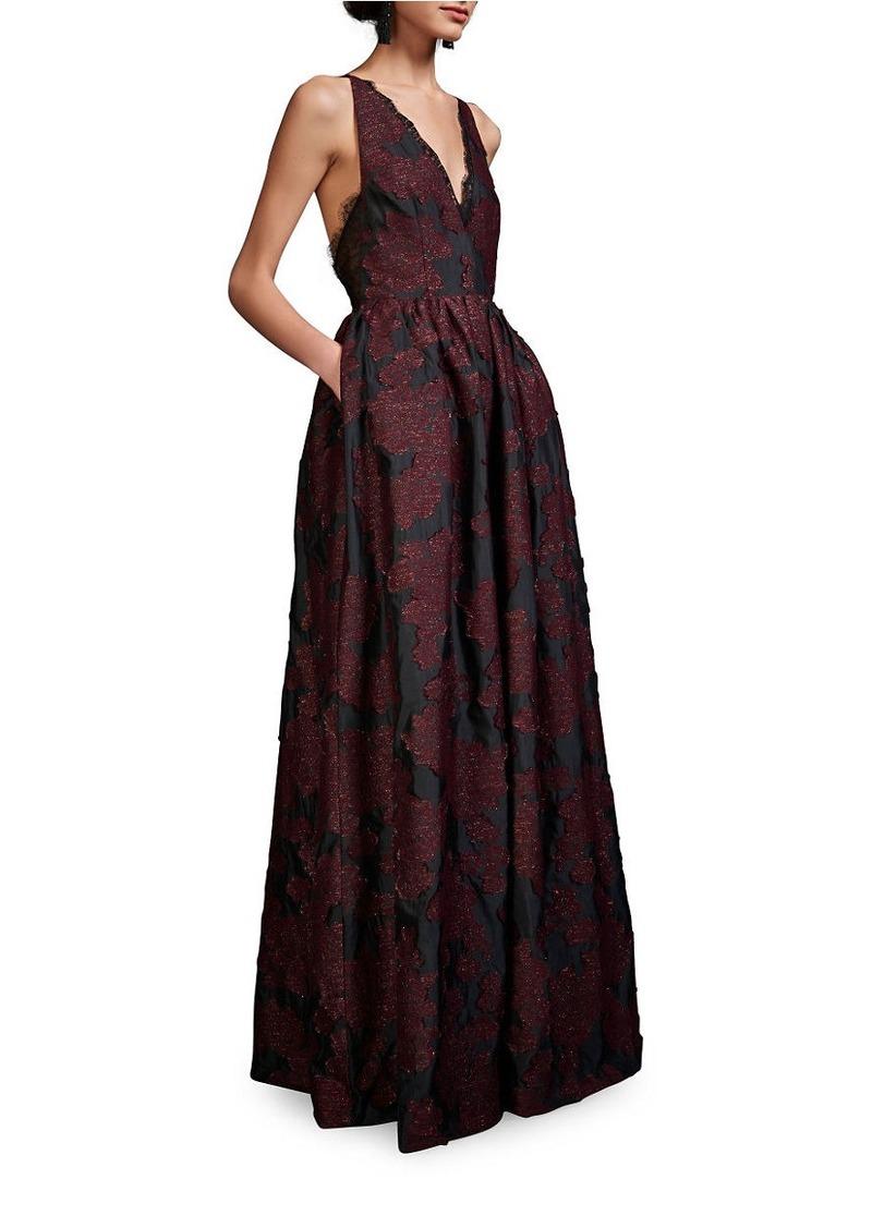 CYNTHIA ROWLEY V-Neck Sleeveless Jacquard Gown