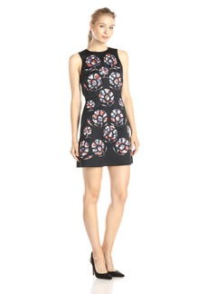 Cynthia Rowley Women's A- Line Bonded Satin Dress with Floral Applique