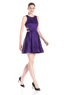 Cynthia Rowley Women's Bonded Satin Fit and Flare Dress with Side Cut Outs