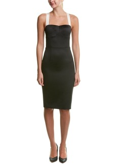 Cynthia Rowley Women's Bonded Satin Fitted Below The Knee Dress with Bow Detail