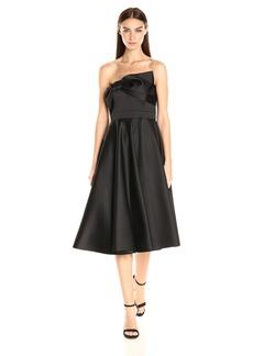 Cynthia Rowley Women's Bonded Satin Strapless Tea Length Dress with Circle Skirt