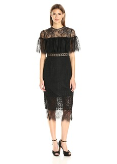 Cynthia Rowley Women's Combo Delicate and Geo Lace Midi Fitted Dress with Sheer Yoke