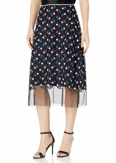 Cynthia Rowley Women's Dot Embroidered Mesh Skirt