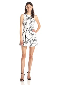 Cynthia Rowley Women's Exposed Seams Dress In Bonded Satin Print