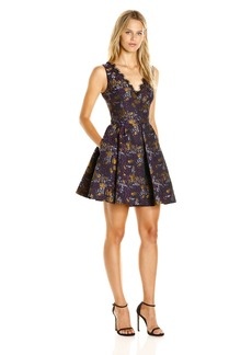 52c985af1f5 Cynthia Rowley Women s Fit and Flare Dress with Deep V Neckline Purple Gold
