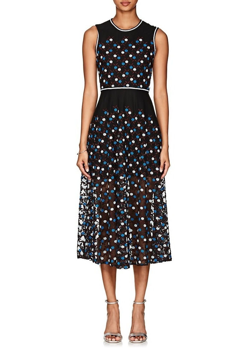 d792ed167fd65 Women's Floral-Embroidered Mesh Midi-Dress