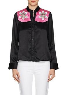 Cynthia Rowley Women's Floral Silk Satin Blouse