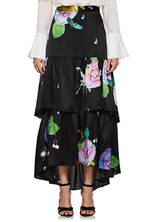 Cynthia Rowley Women's Floral Silk Tiered Maxi Skirt