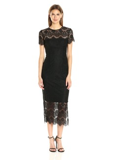 Cynthia Rowley Women's Foil Printed Delicate Scallop Lace Fitted below the Knee Dress with Sheer Yoke