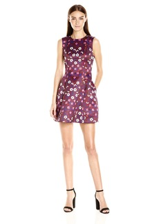 Cynthia Rowley Women's Folky Floral Printed Duchess Satin Bombe Dress
