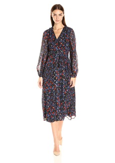 Cynthia Rowley Women's Folky Floral Printed Soft Fil Coupe Boho Wrap Dress With Open Back