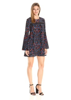 Cynthia Rowley Women's Folky Floral Printed Velvet Boho Trapeze Dress with Trim Detail