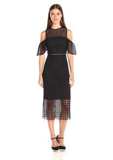 Cynthia Rowley Women's Geo Lace Cold Shoulder Midi Dress