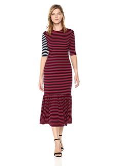 Cynthia Rowley Women's Hang Ten Striped Maxi Dress  L