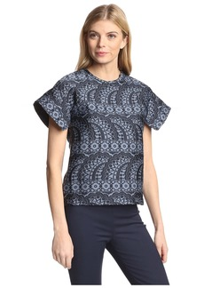 Cynthia Rowley Women's Jacquard Flutter Sleeve Top  M