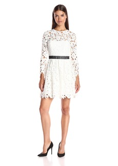 Cynthia Rowley Women's Lace Long Sleeve Fit and Flare Dress