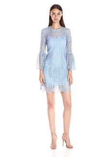 Cynthia Rowley Women's Lace Shift Dress with Bell Sleeves