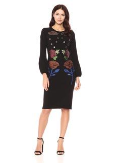 Cynthia Rowley Women's Long Sleeve Applique Dress