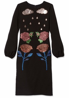 Cynthia Rowley Women's Long Sleeve Applique Dress