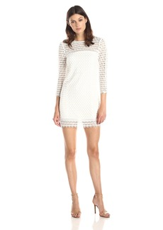Cynthia Rowley Women's Long Sleeve Dress In Geo Lace with Ladder Trim