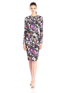 Cynthia Rowley Women's Long Sleeve Printed Stretch Crepe Midi Dress
