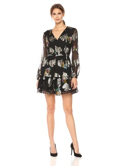 Cynthia Rowley Women's Metallic Long Sleeve Flounce Dress