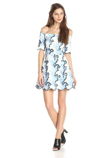 Cynthia Rowley Women's Neoprene Off The Shoulder Printed Fit and Flare Dress SkyBlue/Multi