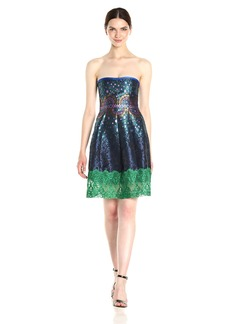 Cynthia Rowley Women's Peacock Jacquard Strapless Dress