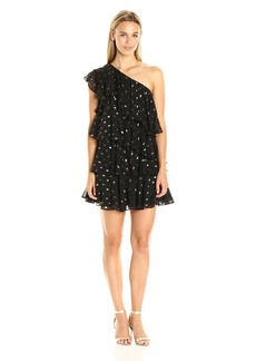 Cynthia Rowley Women's Polka Dot Soft Fil Coupe One Shoulder Ruffle Dress