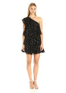 Cynthia Rowley Women's Polka Dot Soft FIL Coupe One Shoulder Ruffle Dress