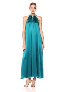Cynthia Rowley Women's Silk Tie Neck Halter Gown  S