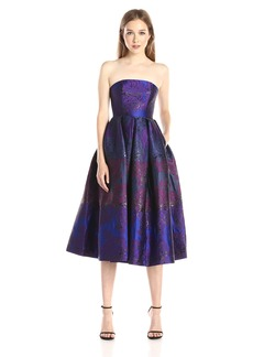 Cynthia Rowley Women's Strapless Patchwork Floral Jacquard Tea Length Dress
