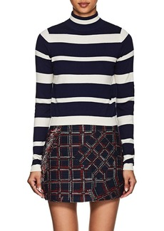 Cynthia Rowley Women's Striped Crop Mock Turtleneck Sweater