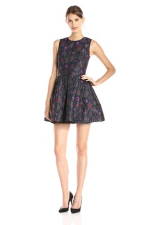 Cynthia Rowley Women's Textured Jacquard Dress with Pleated Skirt