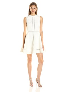 Cynthia Rowley Women's Textured Jacquard Fit and Flare Dress with Mock Neck and Trim Detail