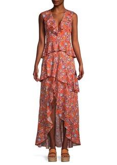 Cynthia Rowley Floral-Print Ruffle Maxi Dress