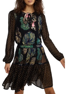 Cynthia Rowley Inverness Mixed Media Fish Blouson-Sleeve Dress