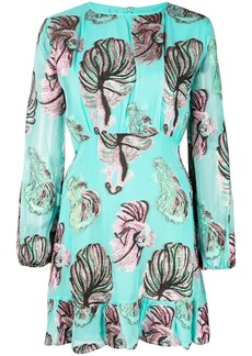Cynthia Rowley Inverness Teal Fish Bell Sleeve Dress