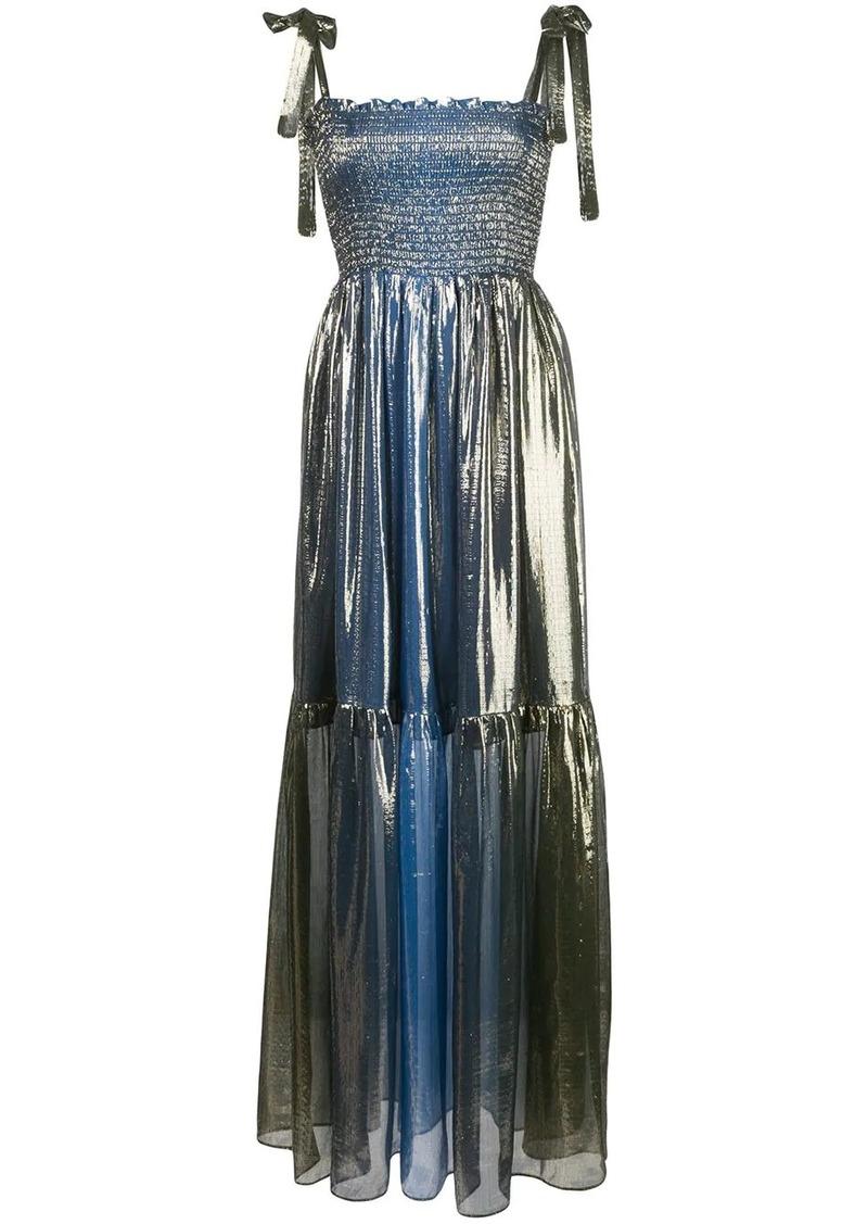 Cynthia Rowley Jade smocked lamé dress